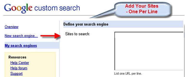 Add New Custom Search Box