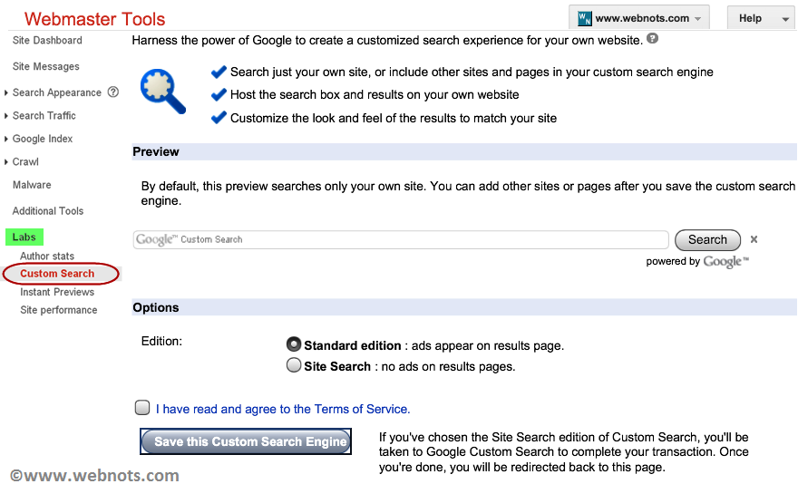Custom Search in Google Webmasters Tools