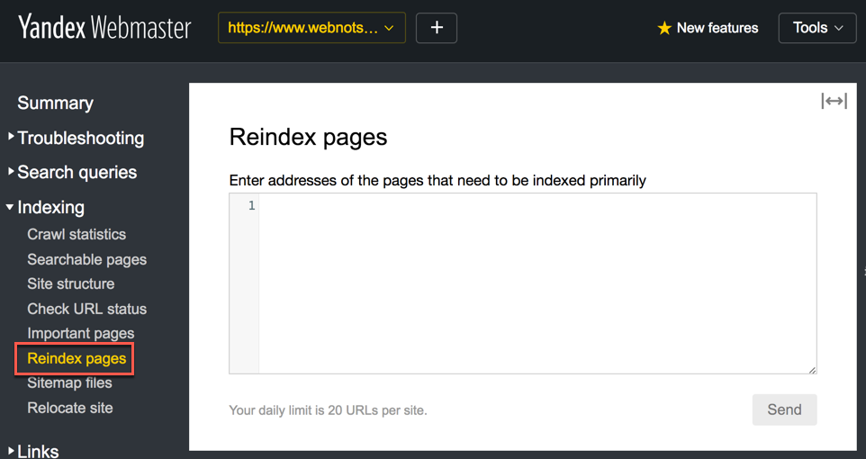 Reindexing Pages in Yandex