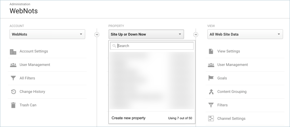 Creating New Property in Analytics