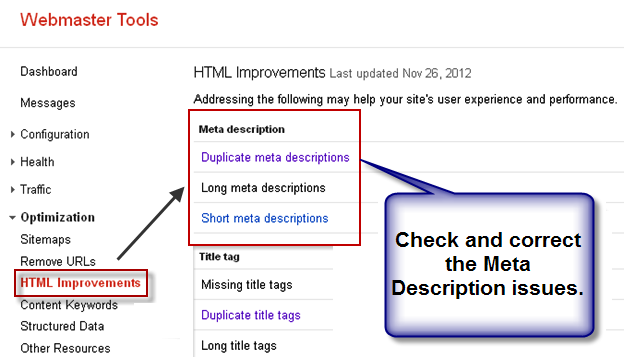 Meta Description Improvements in Google Webmaster Tools