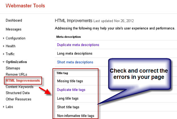 Title Tag Improvements in Google Webmaster Tools