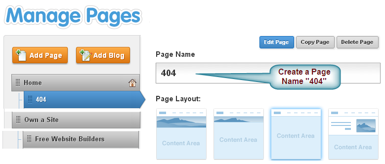 Create a New Page With Name 404