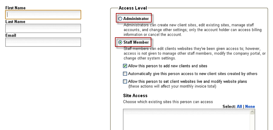 Decide Staff Access Levels