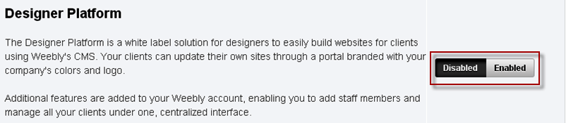 Enable or Disable Weebly Designer Platform