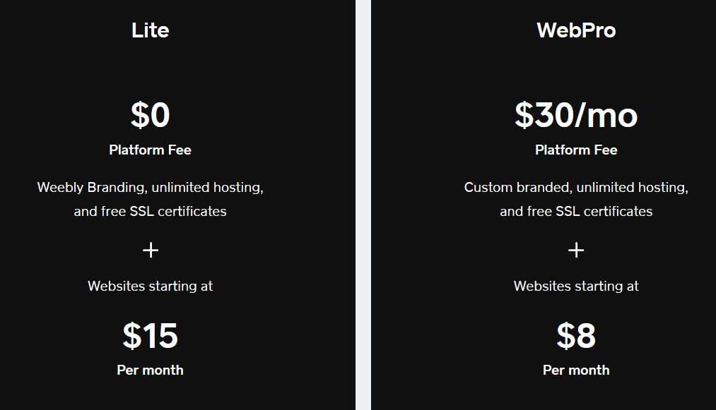 Weebly Designer Platform Pricing