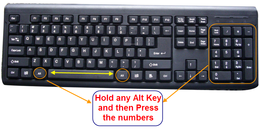 Key Board Image for ALT Key Use