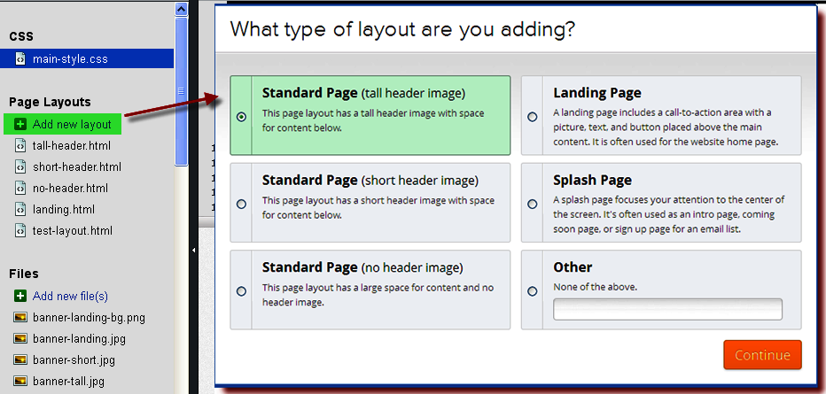 Add Custom Page Layout in Weebly