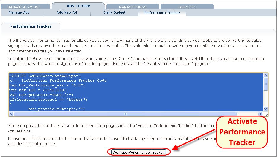 Bidvertiser - Conversion Performance Tracker