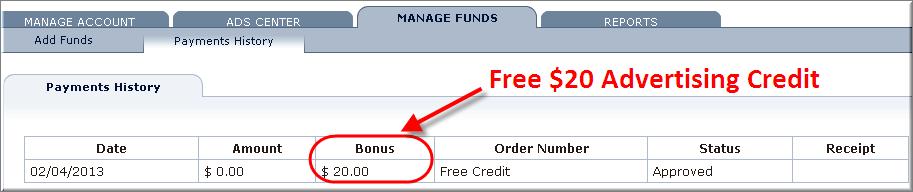 Bidvertiser - Free $20 Coupon Applied