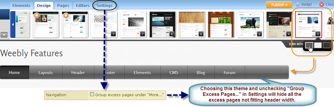 Choose Correct Theme to Hide excess Weebly Pages in Navigation