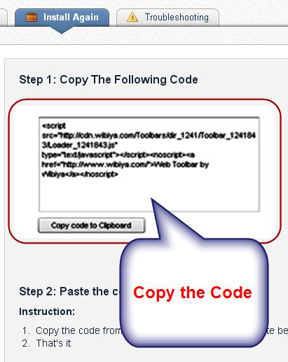 Copy Wibiya Code