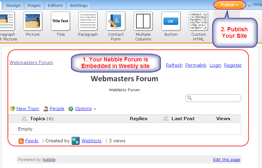 Embedded Nabble Forum in Weebly Site