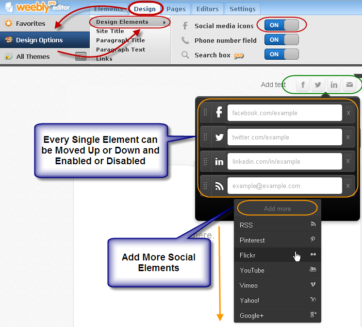 Enable Social Elements in Weebly Header
