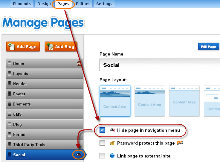 Hide Pages in Weebly Site Navigation