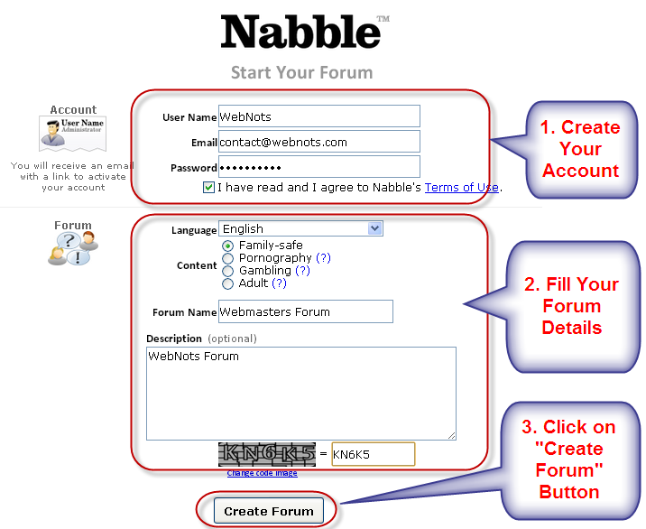 Nabble Account and Forum Creation