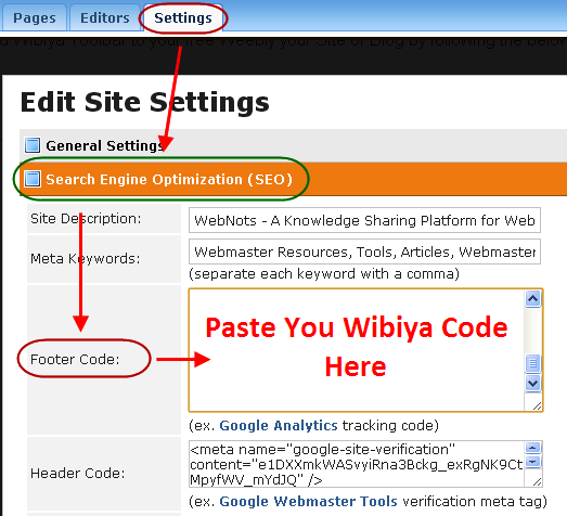 Paste Wibiya Code in Weebly Site