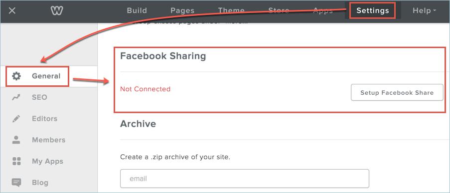 Setup Facebook Share in Weebly