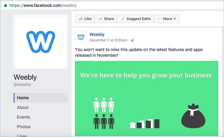Weebly Facebook Page