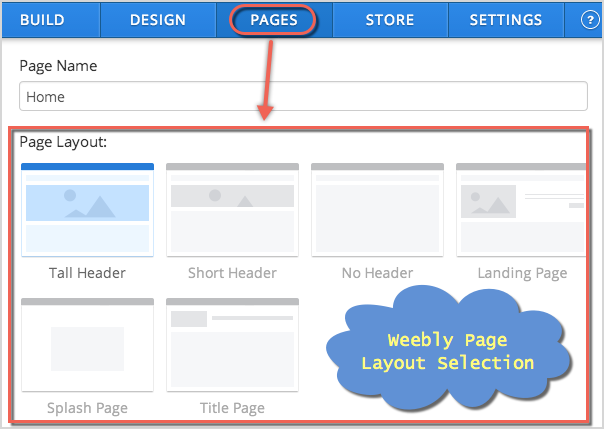 Weebly Page Layout Selection - Pages Tab