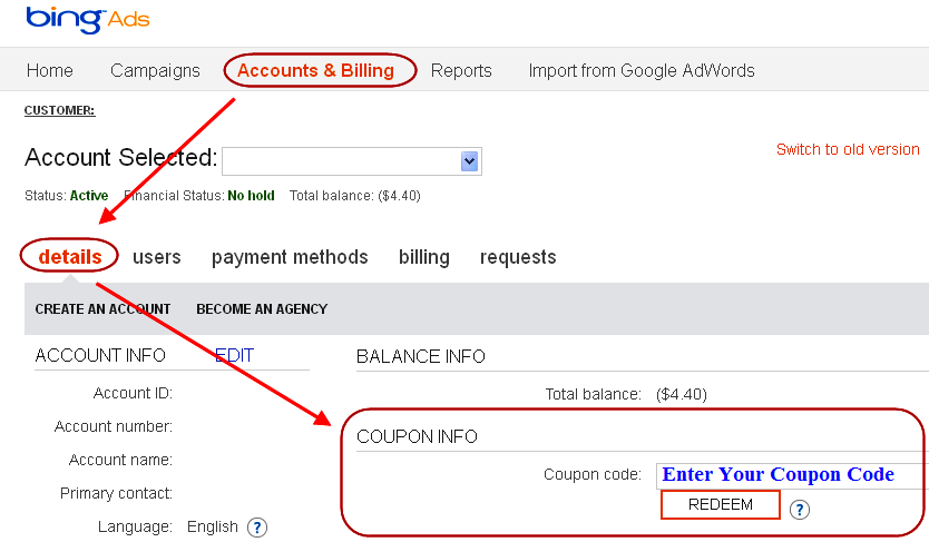 Add Coupon Code in Microsoft Bing Ads - Method 1