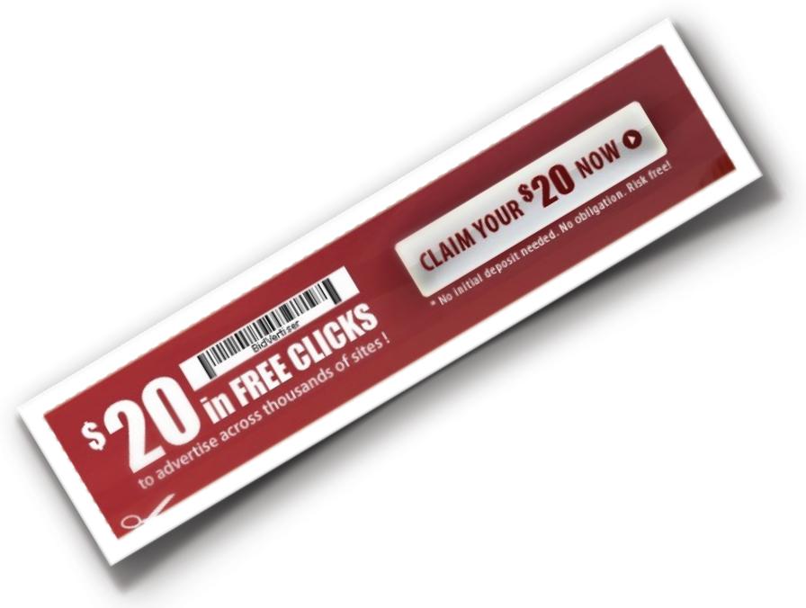 Бесплатный купон Bidvertiser на $ 20
