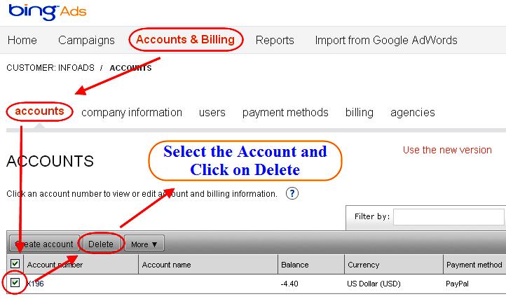 Delete Microsoft Bing Ads adCenter Account