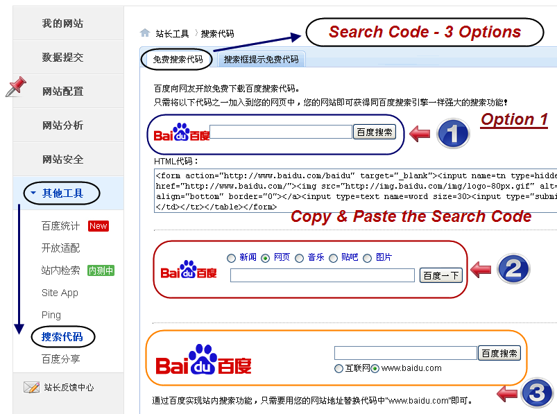 Baidu Search Box Options
