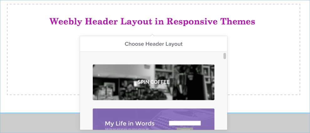 Weebly Header Layout in Responsive Themes