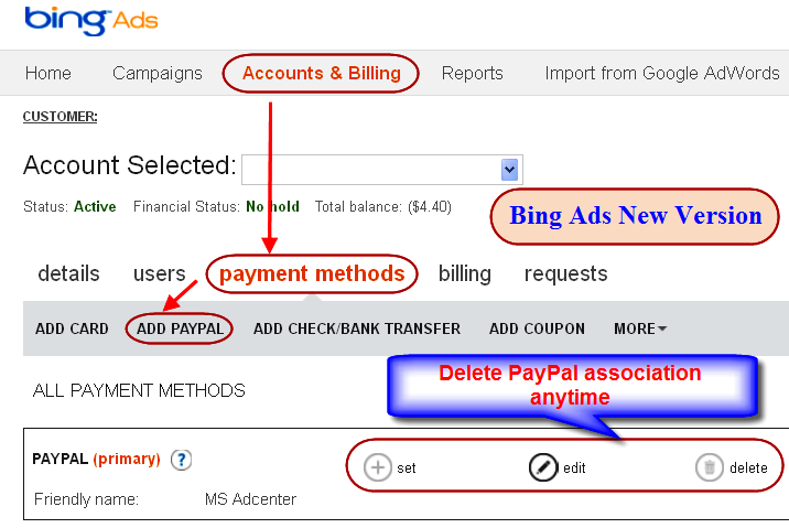 Add PayPal Bing Ads New Version