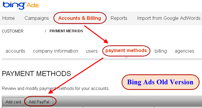 Add PayPal Bing Ads Old Version