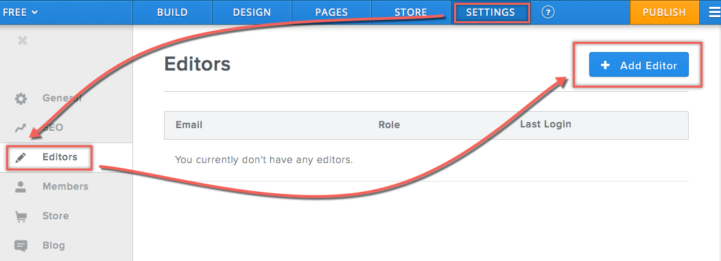 Adding Editors in Weebly