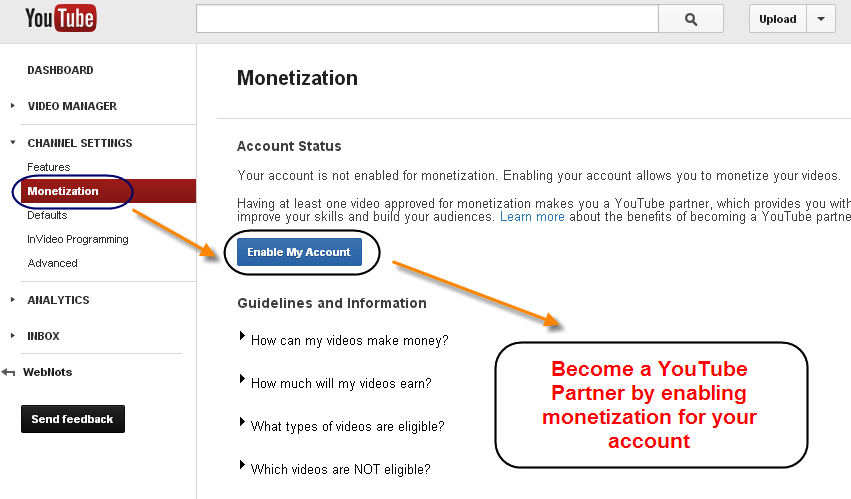 Become a YouTube Partner by Enabling Monetization