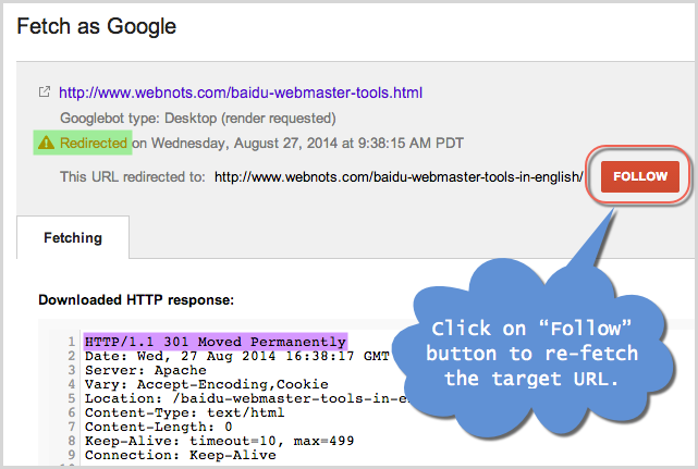 Fetch as Google for Redirected URL