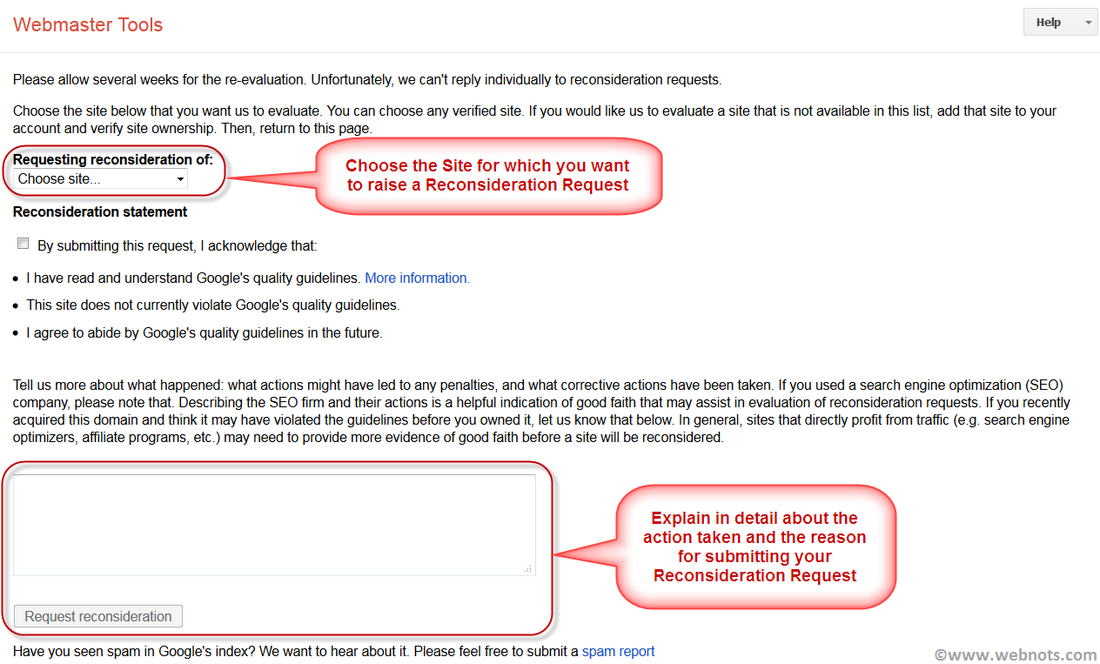 Google Reconsideration Request Form