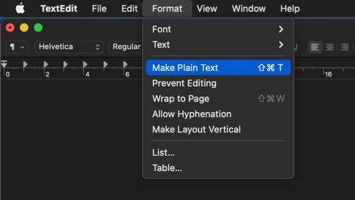 Make Plain Text in Mac