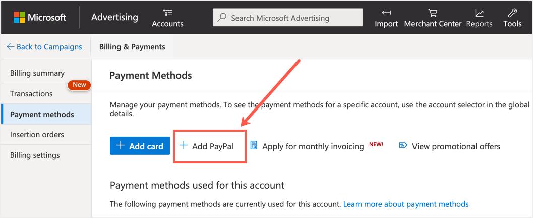 Microsoft Advertising Payment Methods