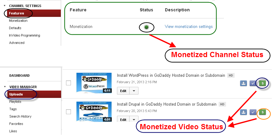 Monetization Status in YouTube