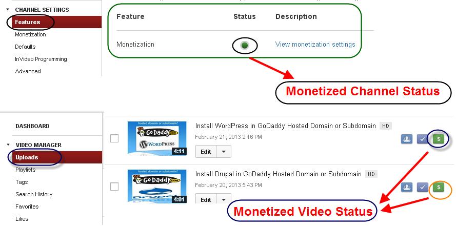 Monetization Status in YouTube
