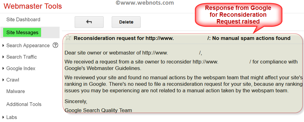Reconsideration Request Response from Google