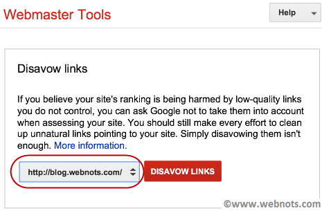 Select Site for Google Disavow Links