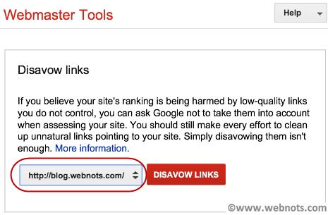Выберите сайт для Google Disavow Links
