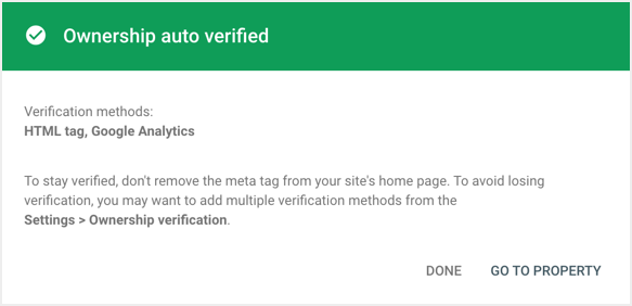 Site Verified with Google Analytics Tag