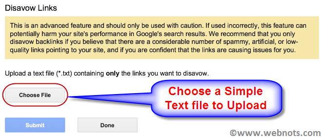 Загрузите файл Disavow.txt для Google