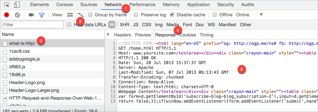 Viewing HTTP Request and Response in Google Chrome