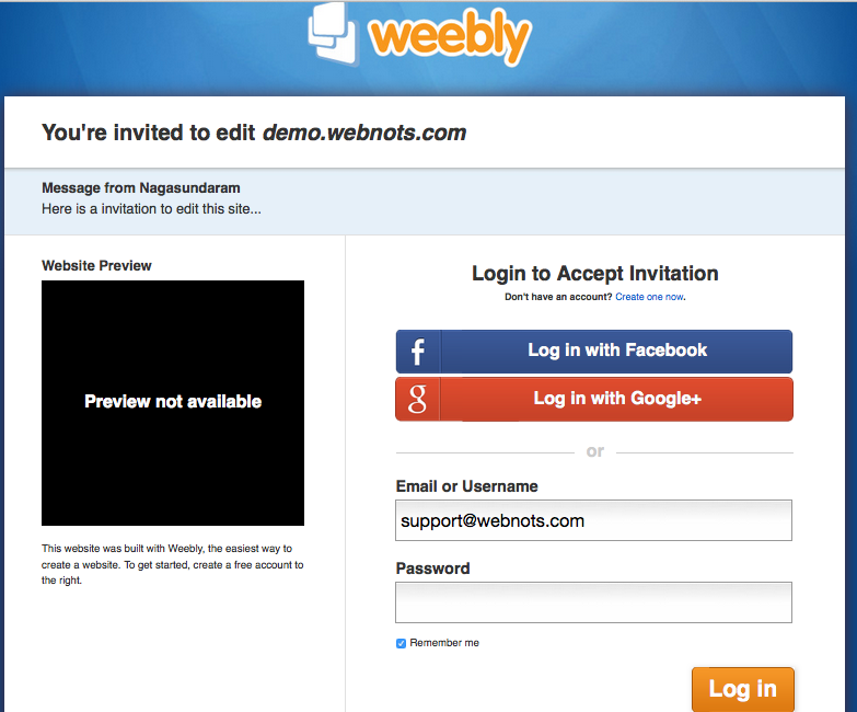 Weebly Editor Invitation