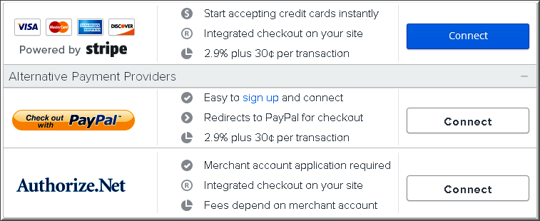 Weebly Payment Checkout Options