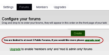 Weebly Talki Sub forums Limitation