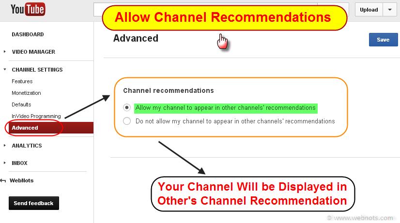 Рекомендации канала YouTube