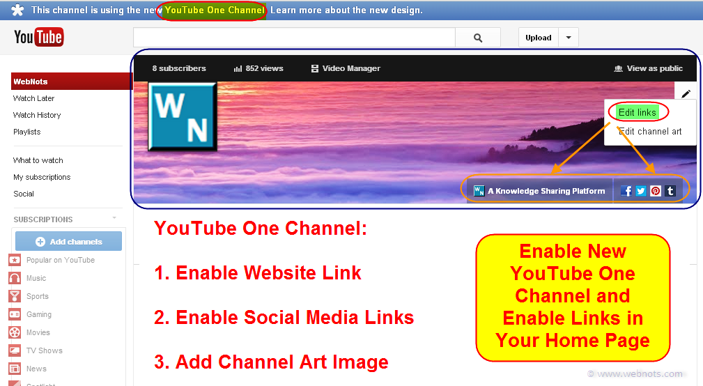 Настройки единого канала YouTube